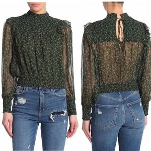 Free People Printed Roma Blouse in Forest Combo